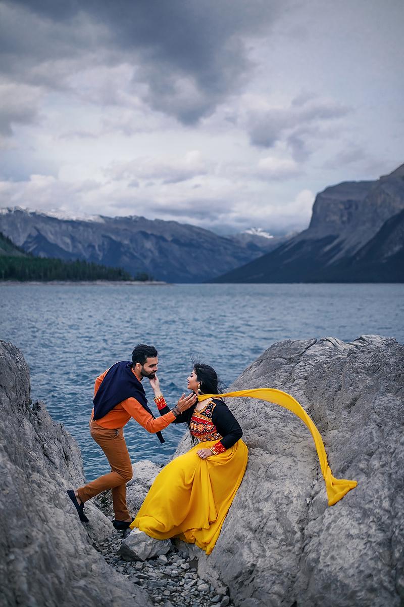Banff elopement engagement session Lake Minnewanka wedding photographer