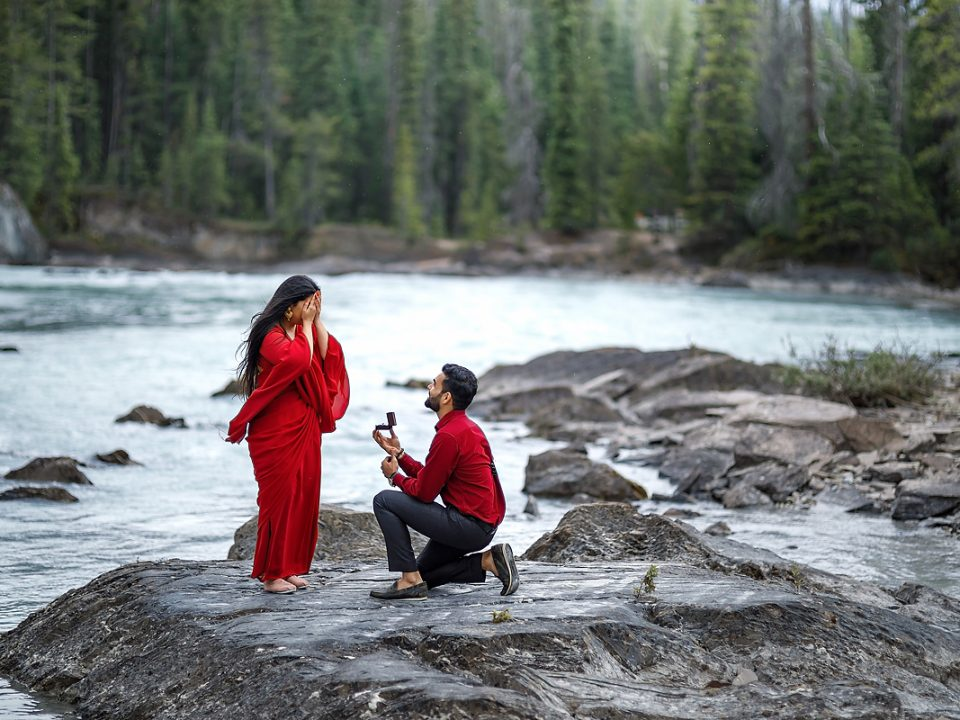 Banff elopement engagement session Natural bridge wedding photographer proposal