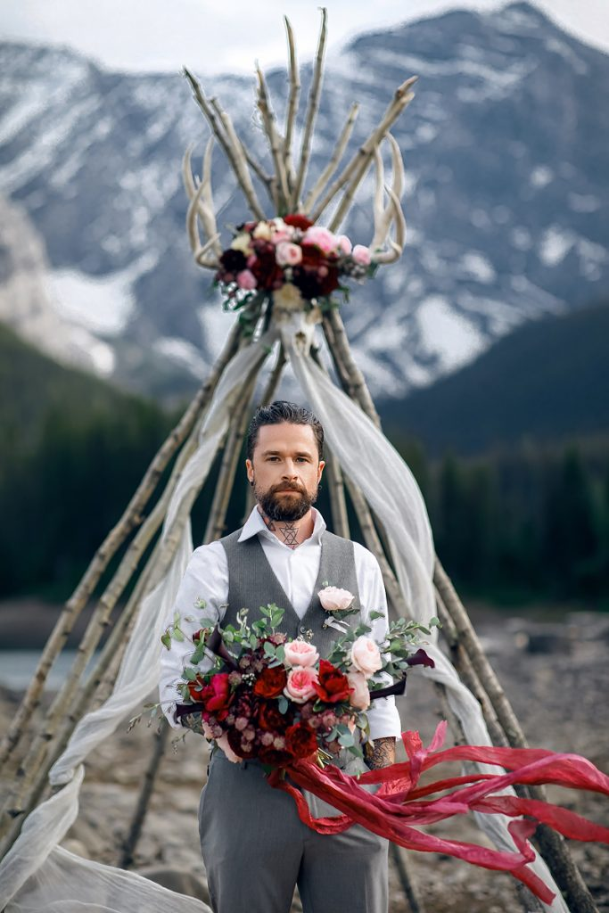 mountain Kananaskis groom portrait