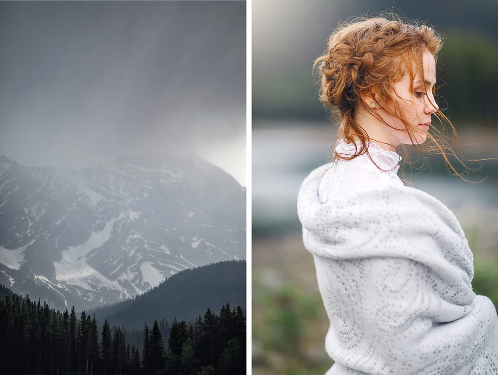 rocky mountains elopement wedding bridal session