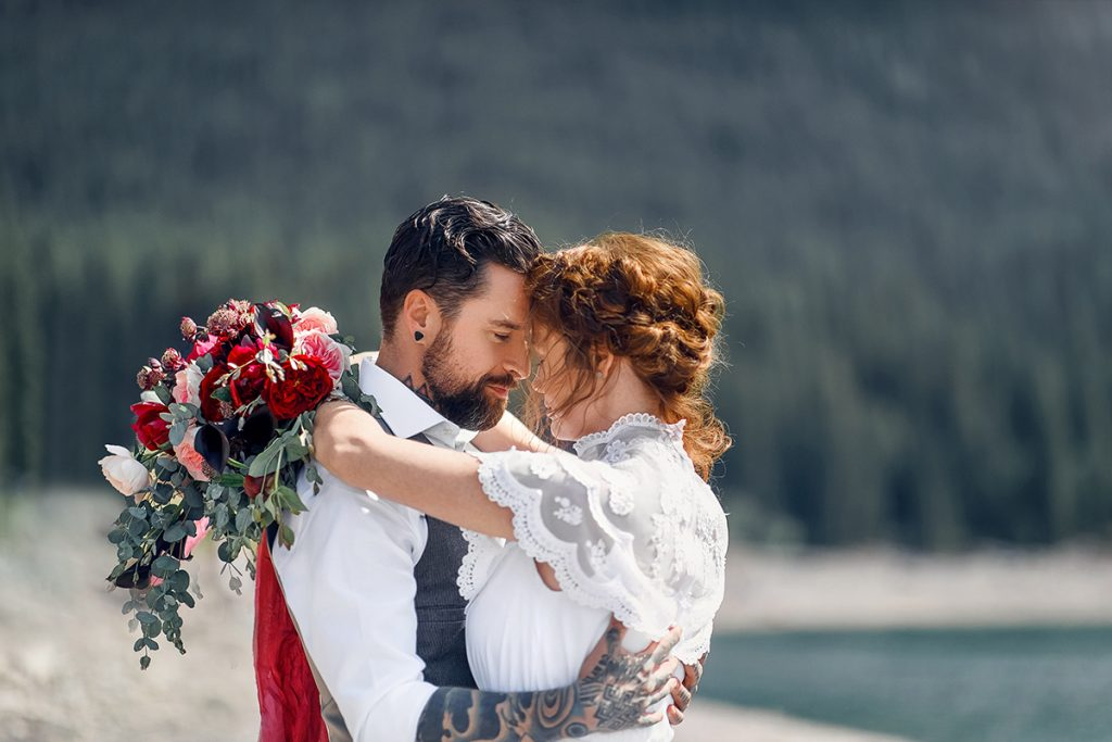 Kananaskis rocky mountains elopement bridal session