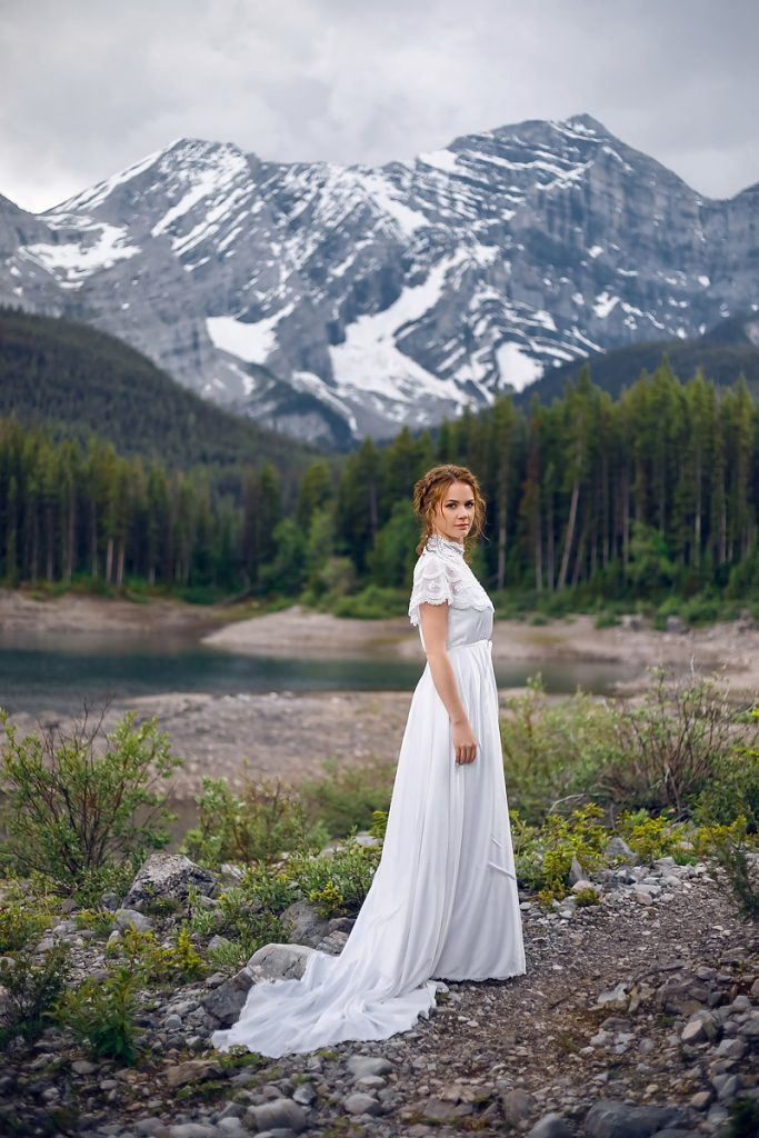 Rocky mountains elopement wedding bridal session Calgary Banff Canmore